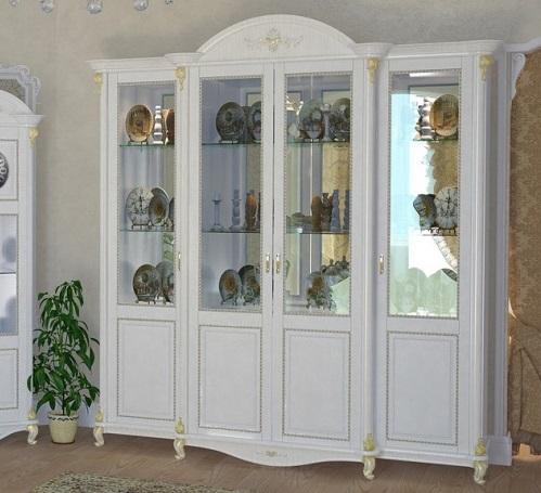 Витрина Да Винчи 4- дверная белая - фото
