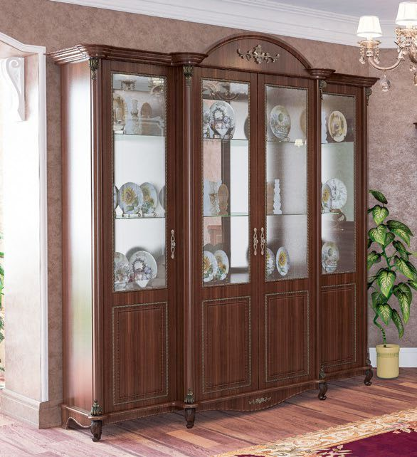 Витрина Да Винчи 4- дверная орех - фото