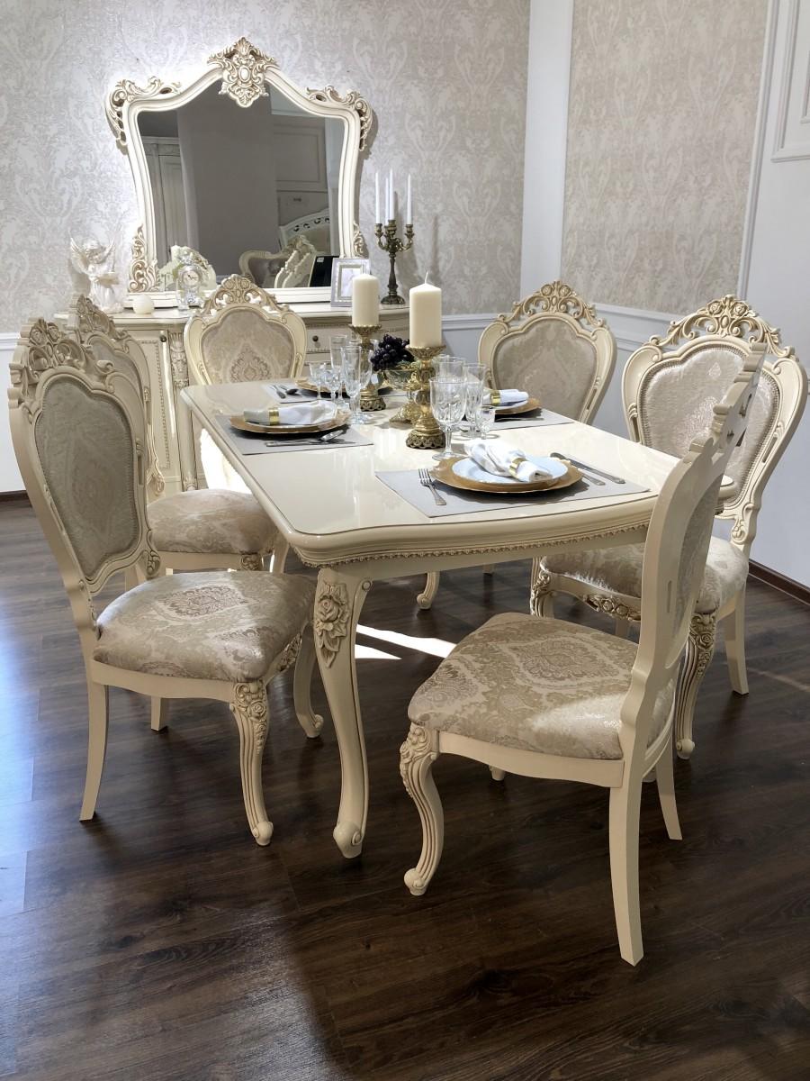 Стол Джоконда со стульями, крем глянец - фото