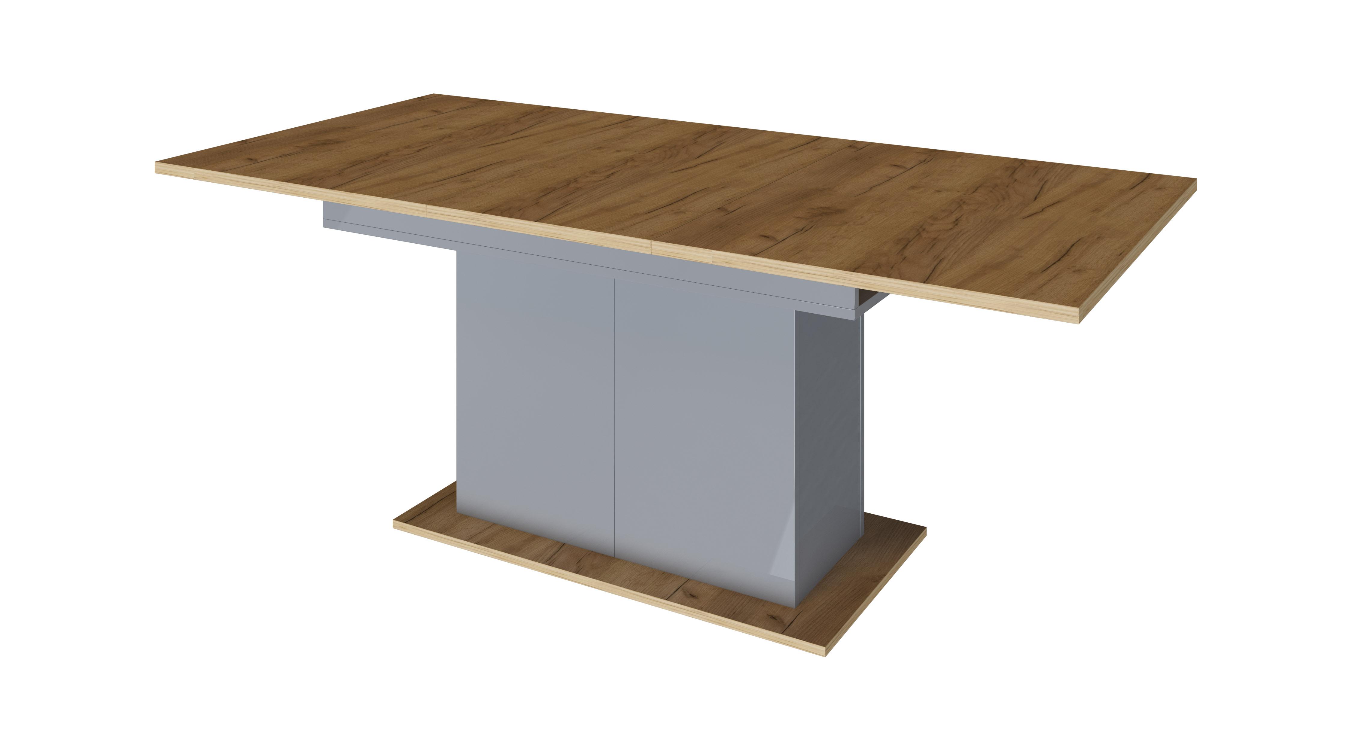 Стол обеденный дуб крафт/антрацит глянец - фото