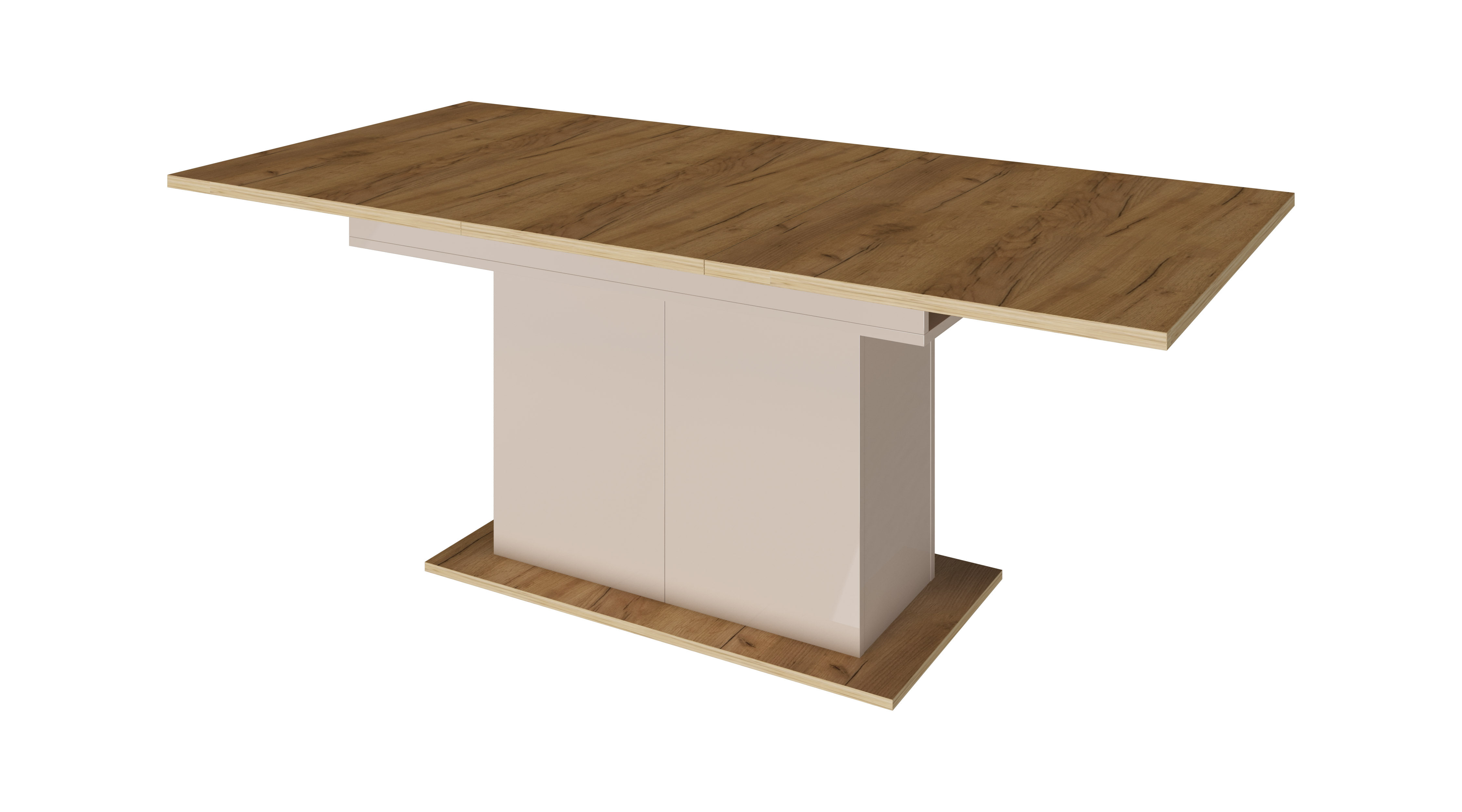 Стол обеденный дуб крафт/капучино глянец - фото